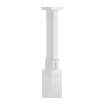 Finishing kit for telescopic pole for 1 or 2 compartments snap-on columns - 2 PVC covers and a base - white finish