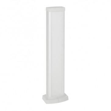 Universal mini-column - 1 compartment - height 0.68 m - aluminium body and covers - white finish