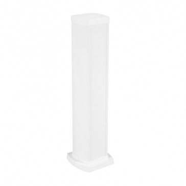 Universal mini-column - 2 compartments - height 0.68 m - aluminium body and covers - white finish
