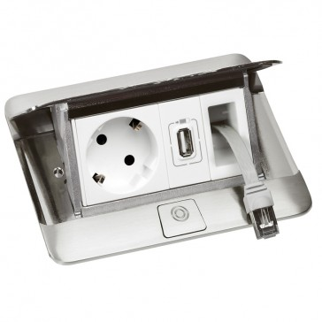 Pop-up flush-mounting box to be equipped - 4 modules - matt steel finish