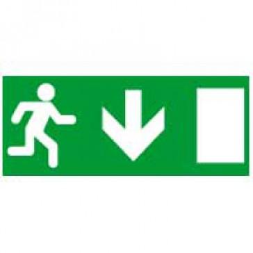 Label - for emergency lighting luminaires - exit door below - 310x112 mm