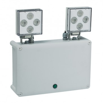 Standard LED emergency luminaire Twinspot - non autotest - 2 x 1250 lm - 1h
