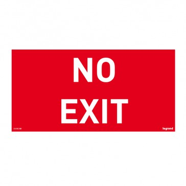 Label - for emergency lighting luminaires - NO EXIT - 100 x 200 mm
