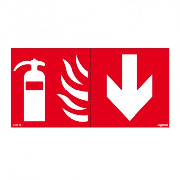 Label - for emergency lighting luminaires - extinguisher below - 100 x 200 mm