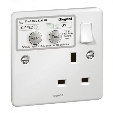 RCD socket Synergy - 1 gang - ELO - Double pole 30 mA - 13 A 250 V~ - white