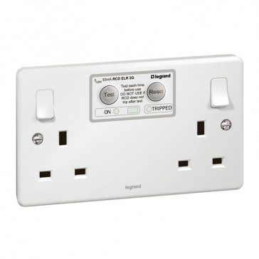 RCD socket Synergy - 2 gang - ELR - Double pole 30 mA - 13 A 250 V~ - white