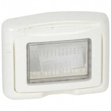 Support frame Plexo 55 - for Mosaic/Vela 3 modules - IP55 - with membrane - white