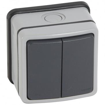 Switch Plexo 66 - 2 gang - 2 way - 20 A 250 V~ - grey