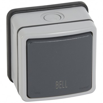 Push-button Plexo 66 - 1 gang - 2 way - with ''bell'' - 6 A 250 V~ - grey