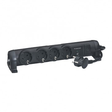 Multi-outlet extension for comfort/safety - German standard - 4x2P+E + voltage surge protector - 1.5 m cord - black