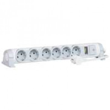 Multi-outlet extension for comfort/safety - 6x2P+E + indicator - 1.5 m cord