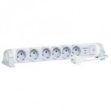 Multi-outlet extension for comfort/safety - 6x2P+E + voltage surge protector - 1.5 m cord