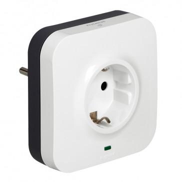 Protected socket - German standard - 2P+E + 2xRJ 45 socket - volt surge protector