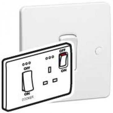 Cooker control unit Synergy - Double pole switch + Double pole socket + indicator - white