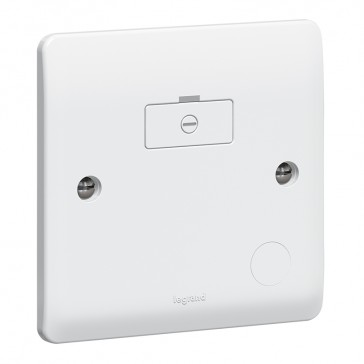 Fused connection unit Synergy - unswitched + cord outlet - white