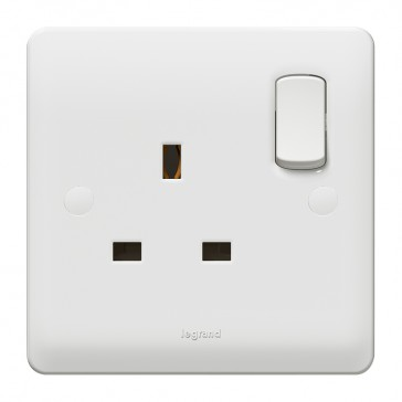 Double pole socket outlet Synergy - 1 gang for standard E applications - 13 A 250 V~ - white