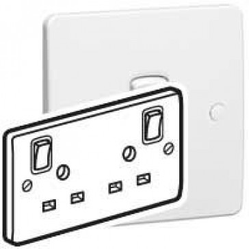 Double pole socket outlet Synergy - special E pin - 2 gang switched - 13 A - white