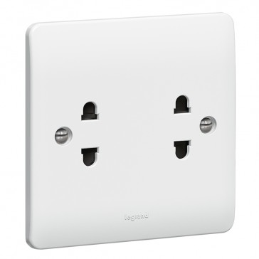 Socket outlet Synergy - Euro-US standard - 2 gang unswitched - white