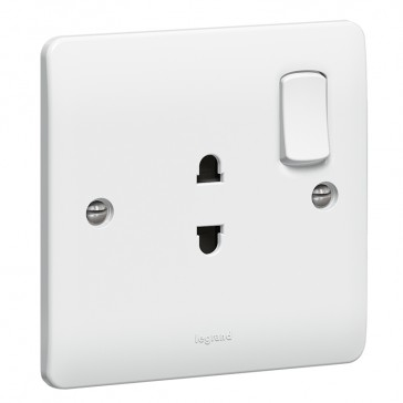 Socket outlet Synergy - Euro-US standard - 1 gang switched - white