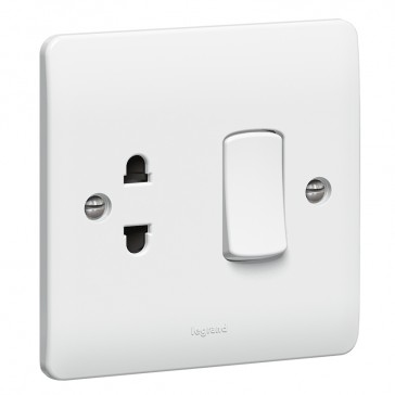 Socket outlet Synergy - Euro-US standard - 1 gang unswitched + 1 way switch - white