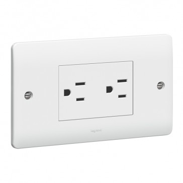 Socket outlet Synergy - 2 gang unswitched SASO - 15 A - 127 V~ - white