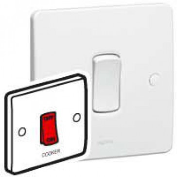 Double pole switch Synergy - Double pole red rocker - 45 A 250 V~ - 86x86 mm - white