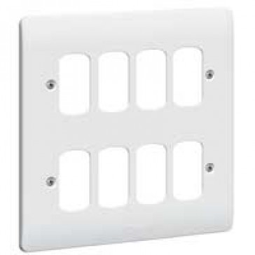 Front plate Synergy - for 8 Grid modules - 2x2 gang - white