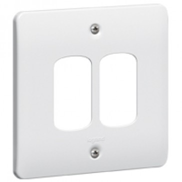 Front plate Synergy - for 2 Grid modules - 1 gang - white