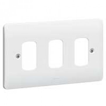 Front plate Synergy - for 3 Grid modules - 2 gang - white