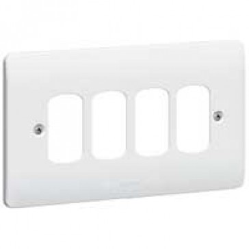 Front plate Synergy - for 4 Grid modules - 2 gang - white