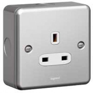 Socket outlet Synergy - 1 gang unswitched - 13 A 250 V~ - metalclad