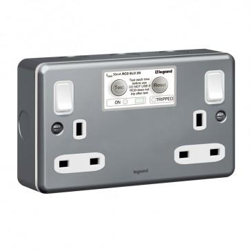 RCD socket outlet Synergy - ELO - Double pole 30 mA - 2 gang - 13 A 250 V~ - metalclad
