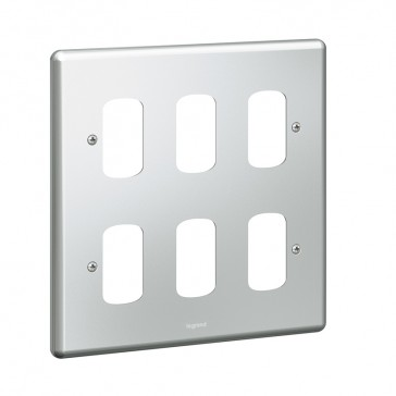Front plate Synergy - for 6 Grid modules - 2x2 gang - metalclad