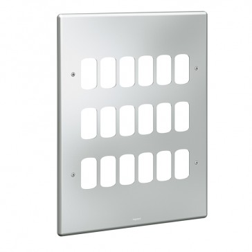 Front plate Synergy - for 18 Grid modules - 3x3 gang - metalclad