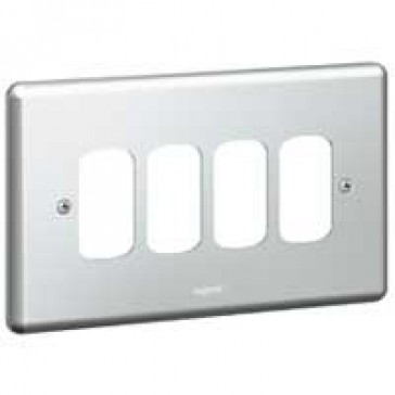 Front plate Synergy - for 4 Grid modules - 2 gang - metalclad