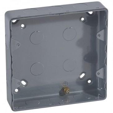 Surface mounting box Synergy - steel - 2x2 gang - with knockout