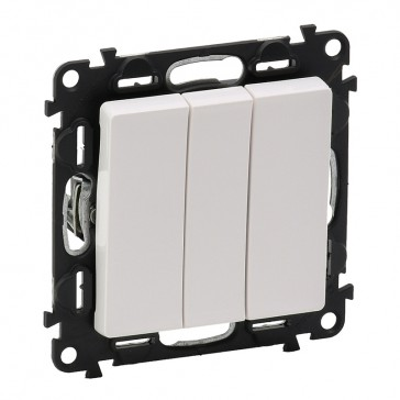 3-gang one-way switch Valena Life - 10 AX 250 V~ - with cover plate - white