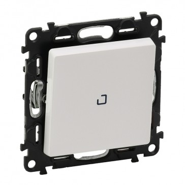 Illuminated one-way switch Valena Life - 10 AX 250 V~ -with cover plate -white