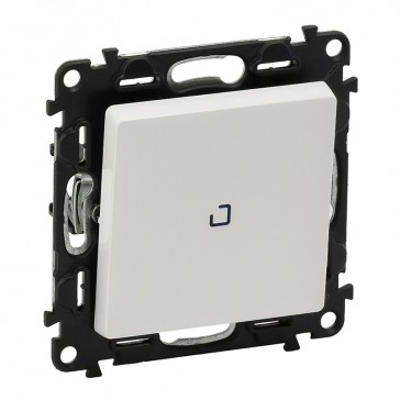 Illuminated two-way switch Valena Life - 10 AX 250 V~ -with cover plate -white