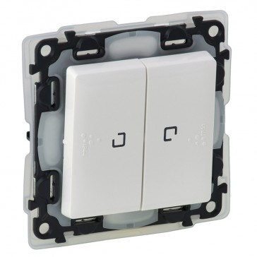 Illuminated 2-gang 2-way switch Valena Life -10 AX-250 V~ -IP44 - white