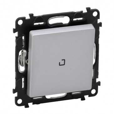 Illuminated two-way switch Valena Life - 10 AX 250 V~ - with cover plate - alu