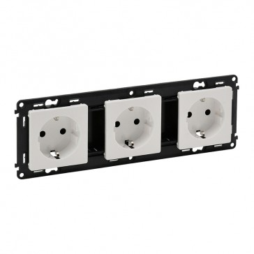 Triple socket Valena Life - German standard - prewired - 16 A 250 V~ - white