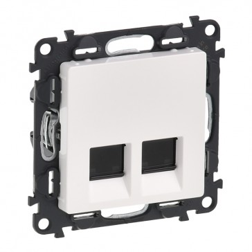 Double RJ 45 socket Valena Life - category 5e FTP - with cover plate - white