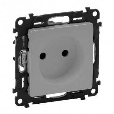 2P socket with shutters Valena Life - 16 A 250 V~ - with cover plate - alu