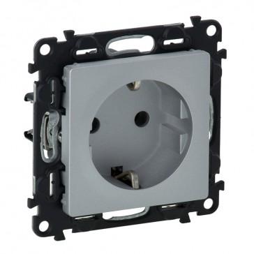 2P+E socket with shut. Valena Life - automatic terminals - German standard -16 A 250 V~ -alu