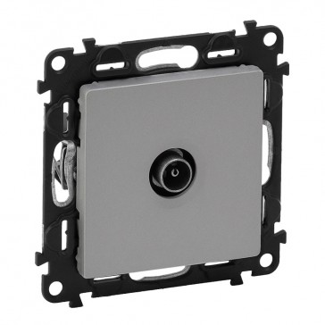 Male TV star socket Valena Life - attenuation 1 dB - with cover plate -aluminium