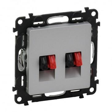Double loudspeaker socket Valena Life - with cover plate - aluminium