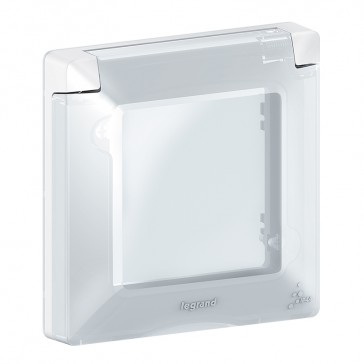 Plate Valena Life - with flap - IP44 - 1 gang - white