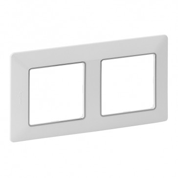 Plate Valena Life - 2 gang - white/chrome