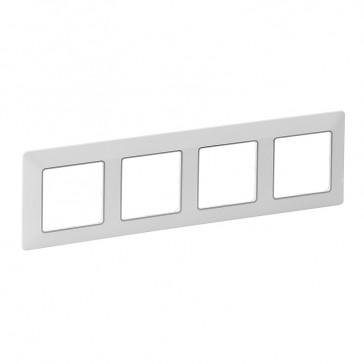 Plate Valena Life - 4 gang - white/chrome